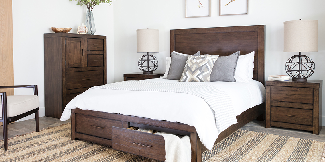 Transitional bedroom room with Riley bed