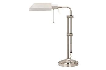 26 Inch Brushed Silver Steel Rustic Pharmacy Style Adjustable Desk Task Lamp