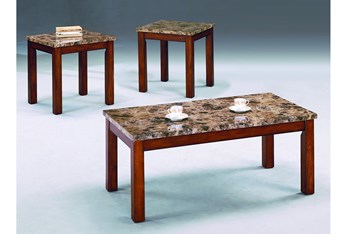 Thurner White Faux Marble 3 Piece Coffee Table Set