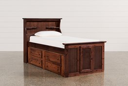 Sedona Twin Bookcase Bed With Single 4- Drawer Captains Unit