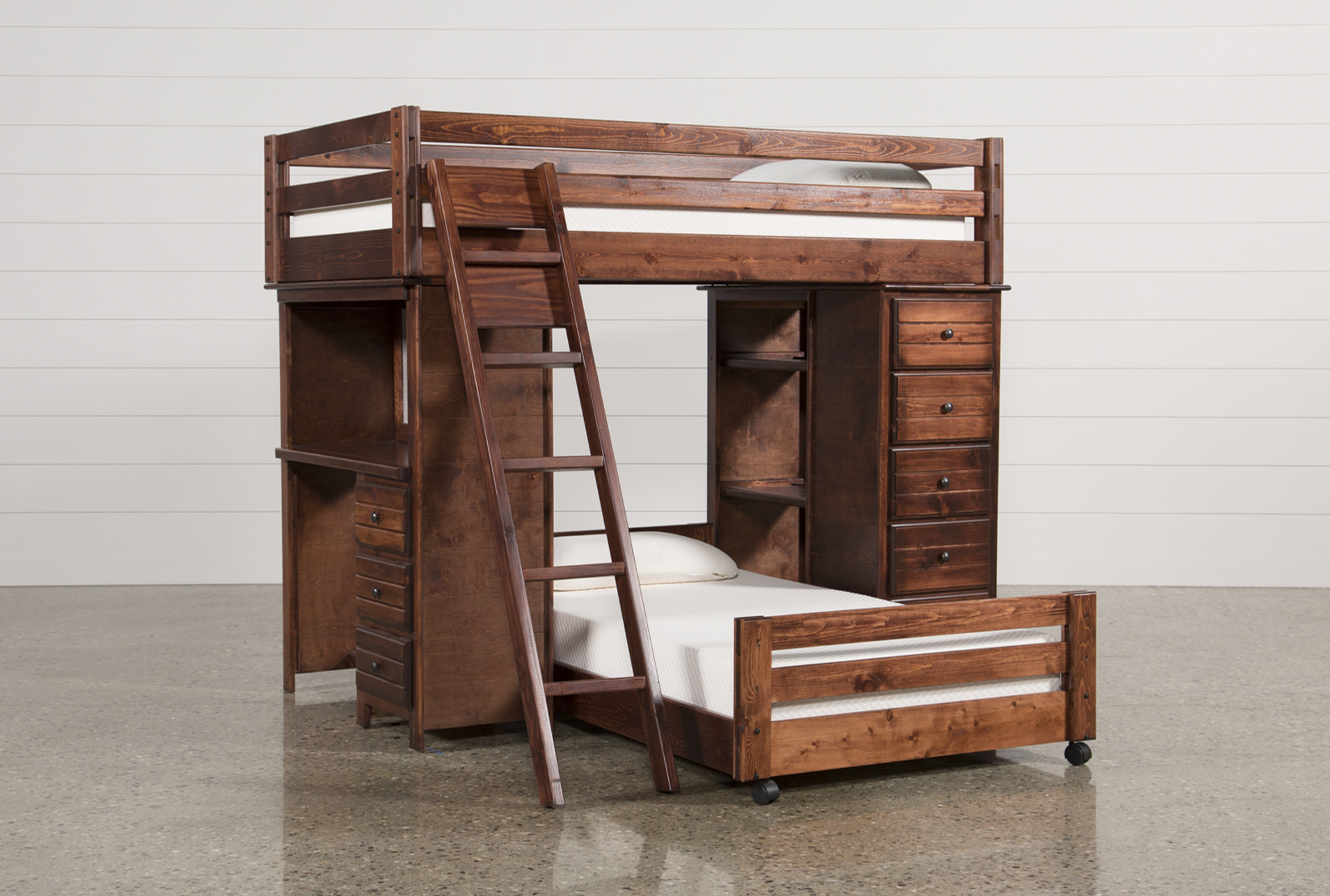 sedona twin over twin loft bunk with chest \u0026 desk living spaces