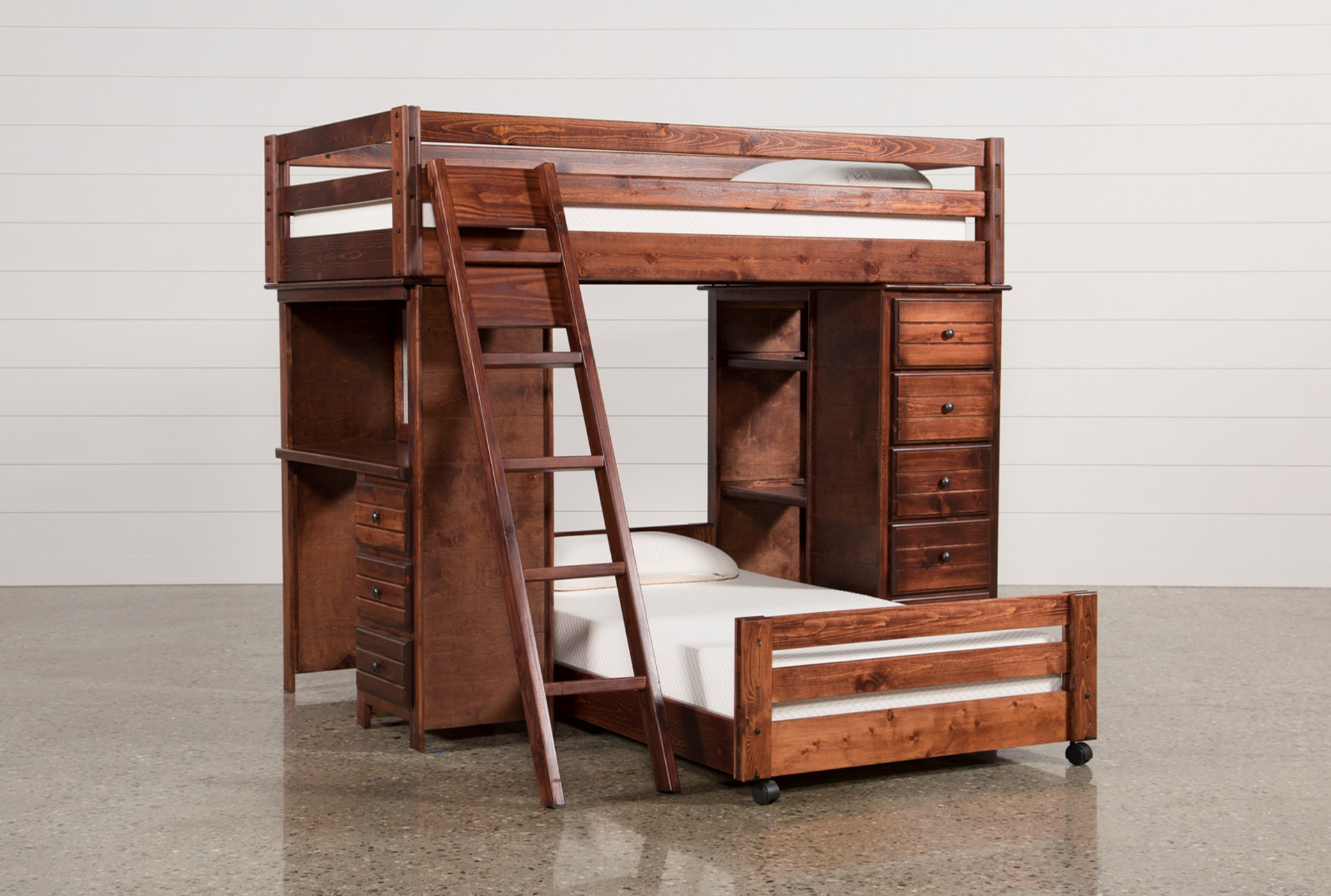 Sedona Twin Over Twin Loft Bunk With Chest Desk Living Spaces