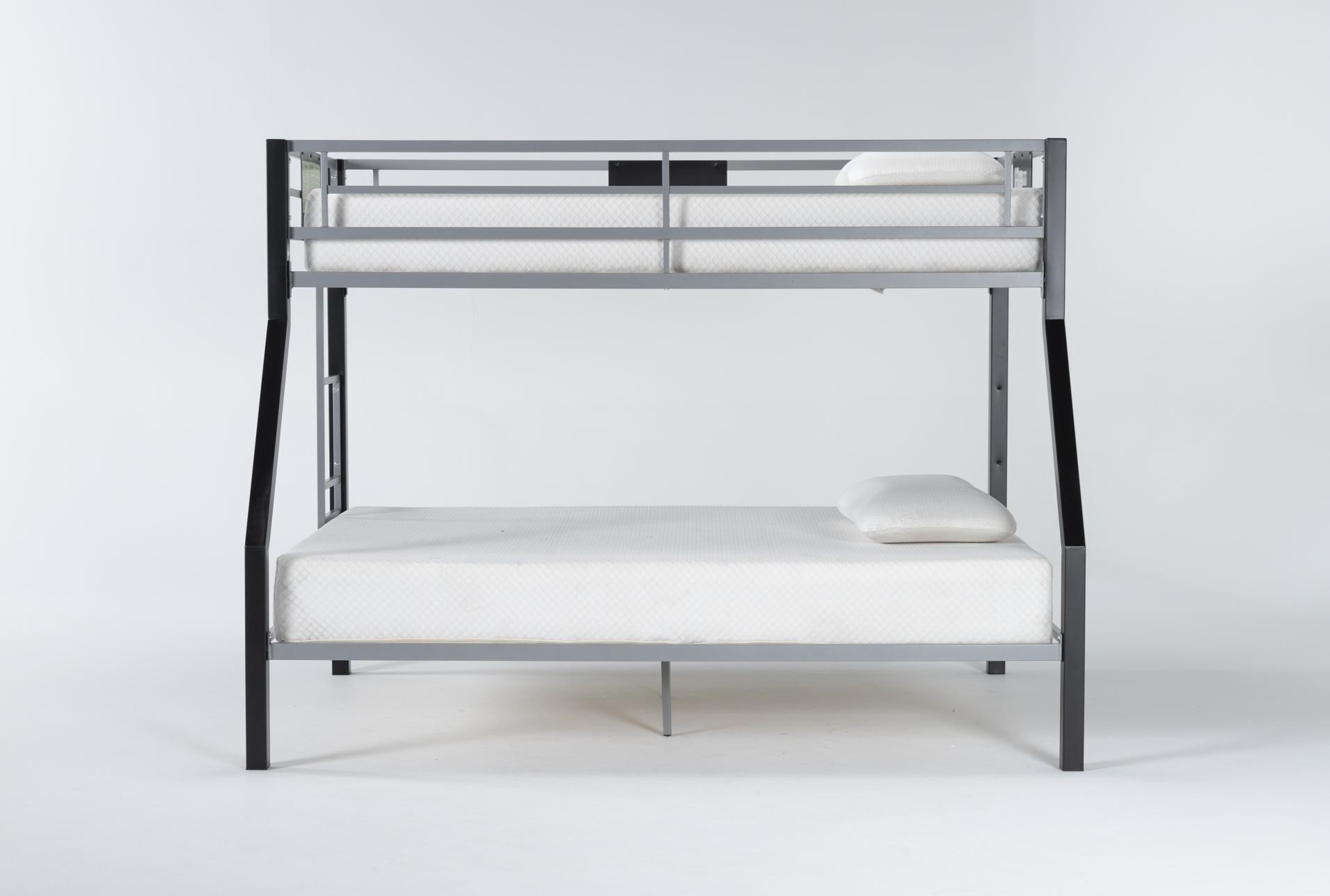 Grey Metal Twin Over Full Bunk Bed With Ladder Living Spaces