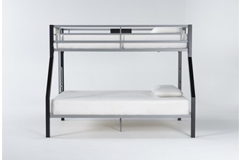 Grey Metal Twin over Full Bunk Bed with Ladder