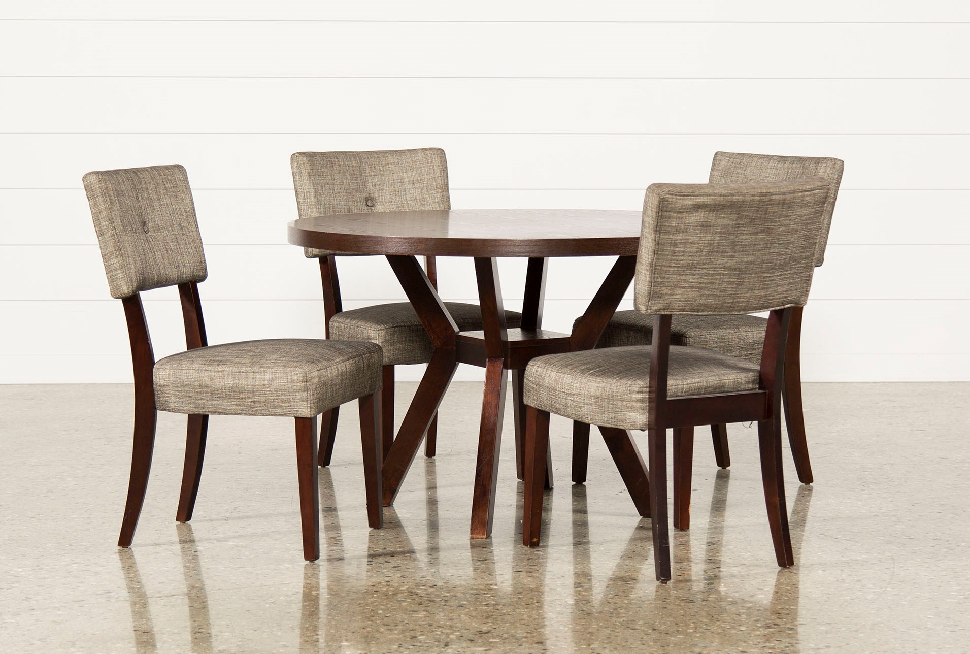 Macie 5 piece round dining set living spaces for Round dining table set
