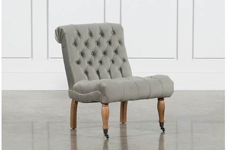 Provincial Grey Tufted Accent Chair