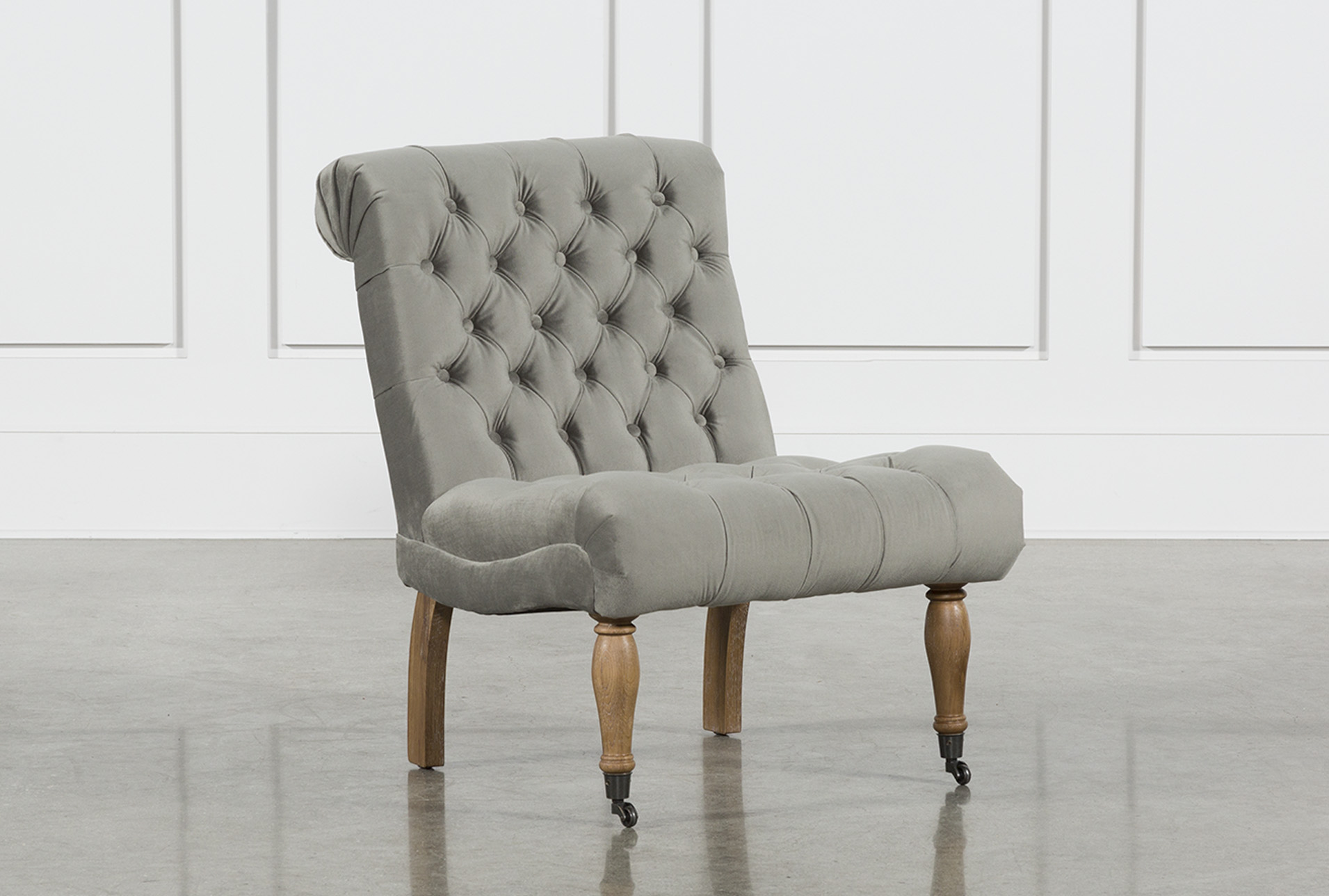 Ordinaire Provincial Grey Tufted Accent Chair