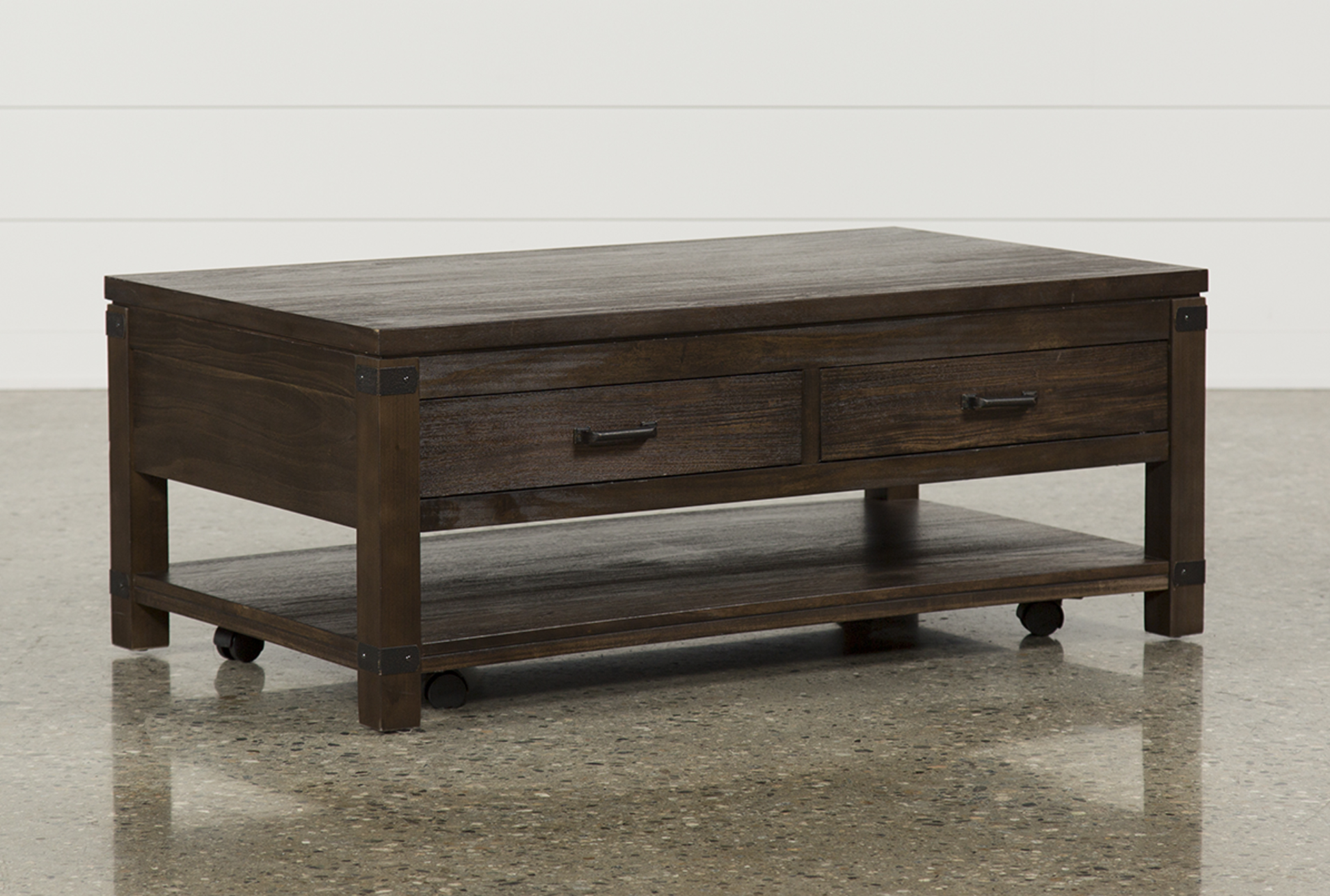 - Livingston Coffee Table W/Drawers Living Spaces
