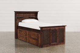 Sedona Twin Bookcase Bed With 2- Drawer Captains Trundle