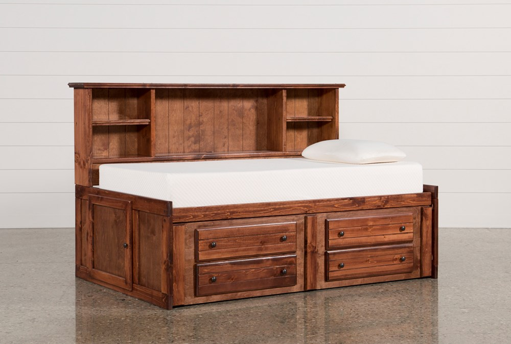 Sedona Twin Bookcase Daybed Bed With 2- Drawer Captains Trundle