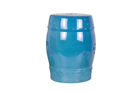 Blue Ceramic Garden Stool - Main