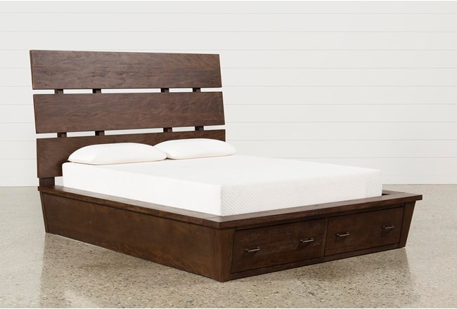 Queen Bed Frame With Storage.Livingston Queen Storage Bed