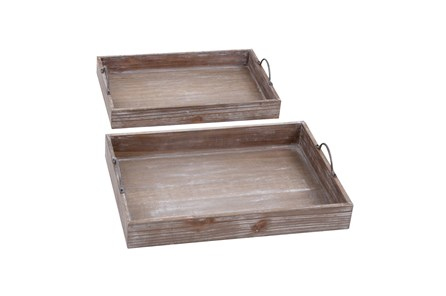 2 Piece Set Wood Tray - Main