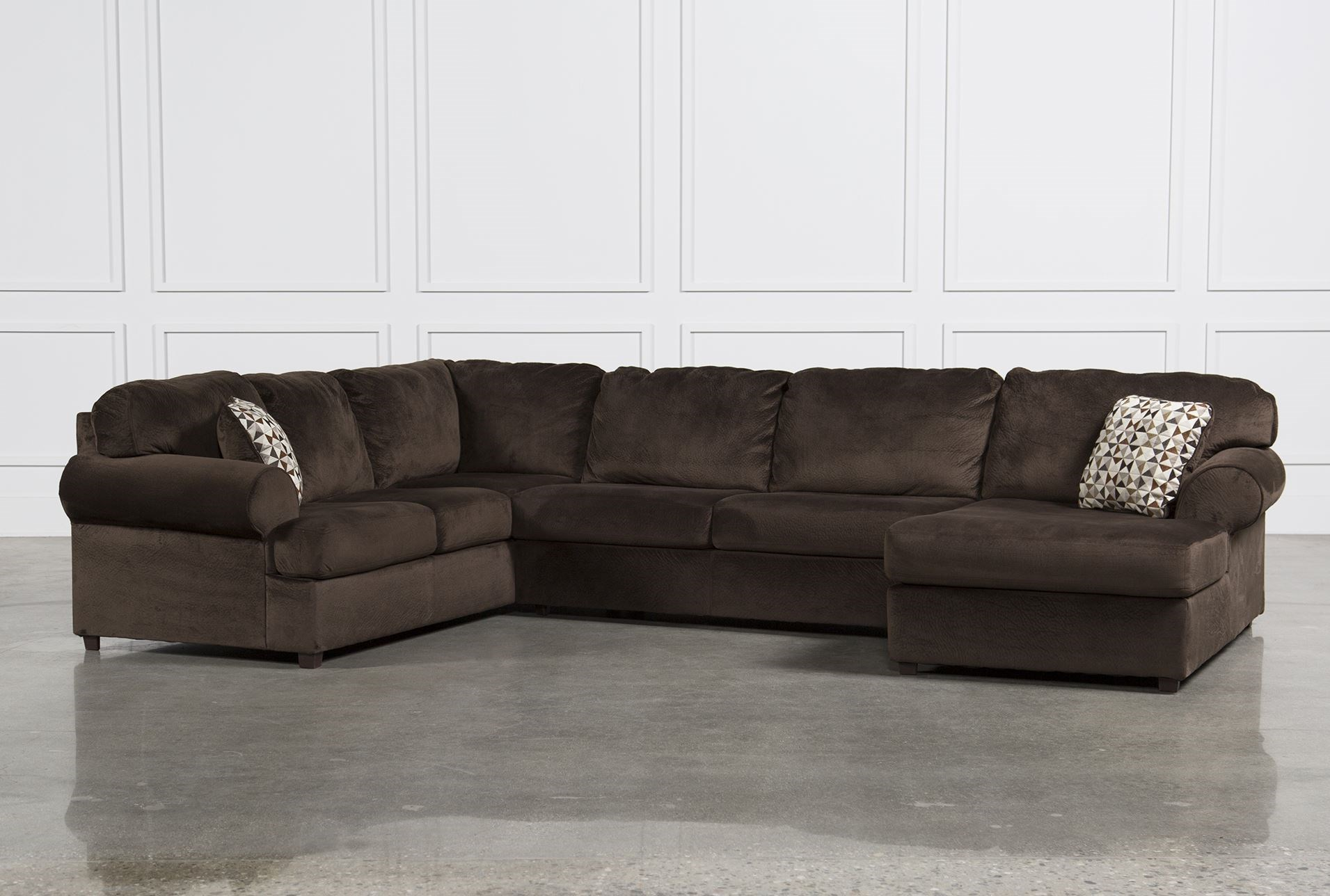 Jessa Place Chocolate 3 Piece Sectional W Raf Chaise Living Spaces ~ Chocolate Sectional Sofa Set With Chaise