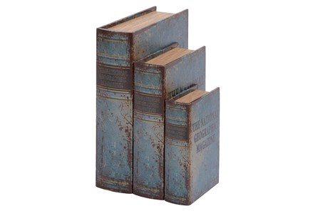3 Piece Set Leather Book Box - Main