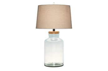 29 Inch Clear Glass Fillable Jug Table Lamp With Cork Seal