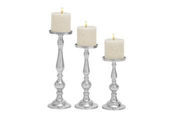 3 Piece Set Aluminum Candleholders