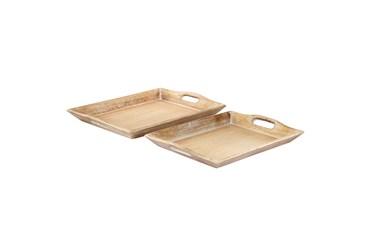 2 Piece Set Wood Tray