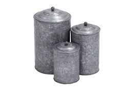 3 Piece Set Galvanized Metal Canisters