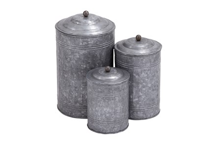 3 Piece Set Galvanized Metal Canisters - Main