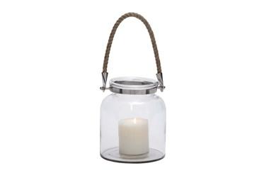 "8"" Glass Lantern With Rope Lantern"