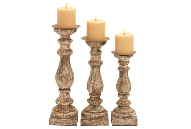 3 Piece Set Wooden Candleholders - 360