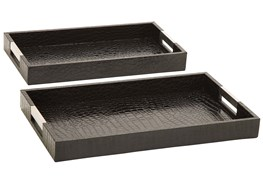 2 Piece Set Wood And Leatherette Trays