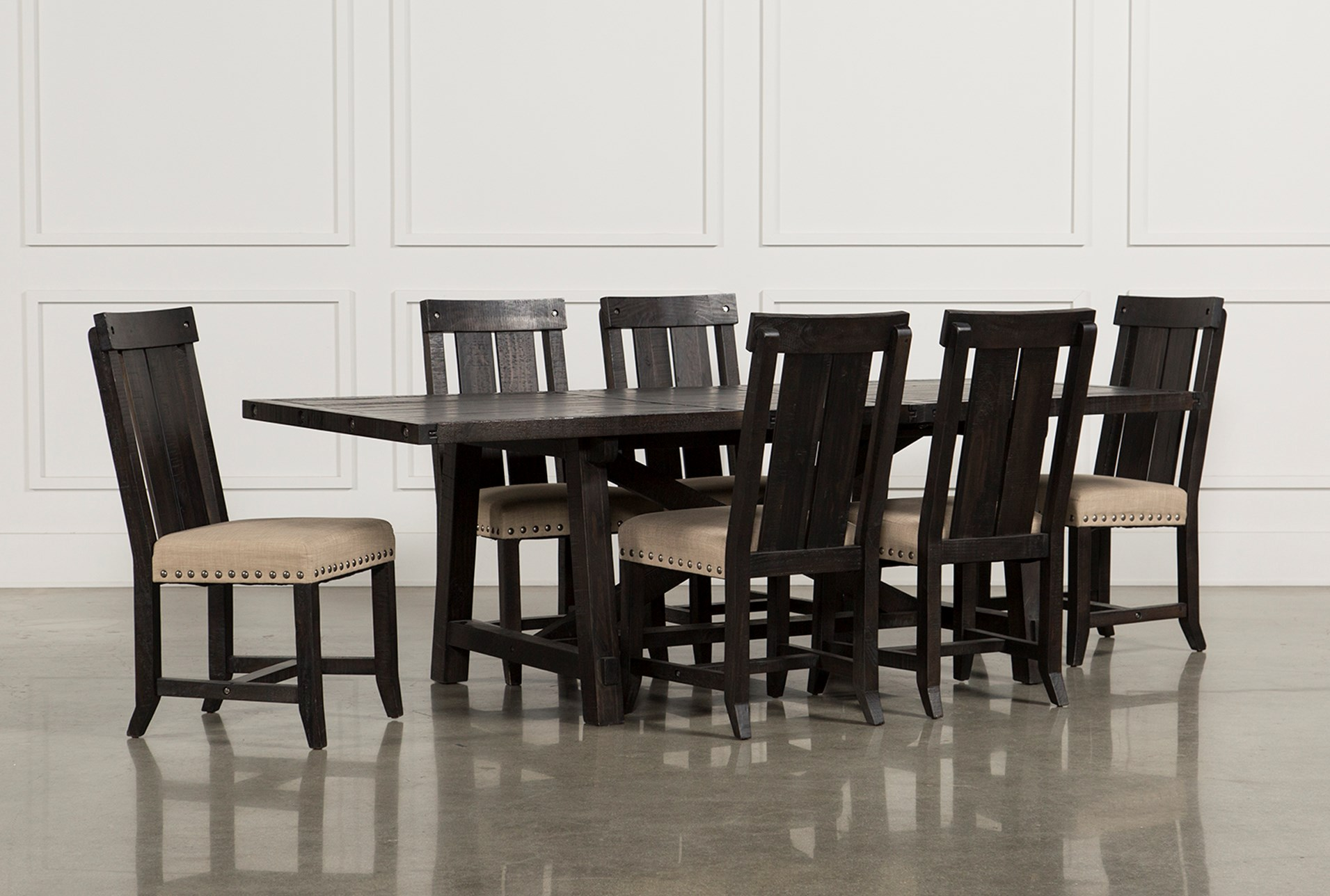 Jaxon 7 piece rectangle dining set w wood chairs