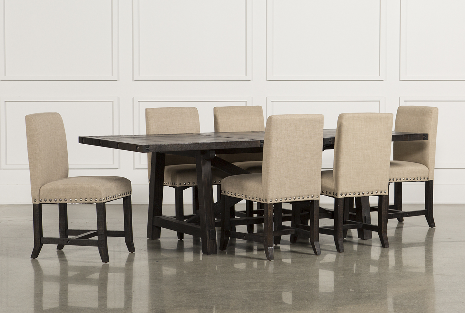 Charmant Jaxon 7 Piece Rectangle Dining Set W/Upholstered Chairs