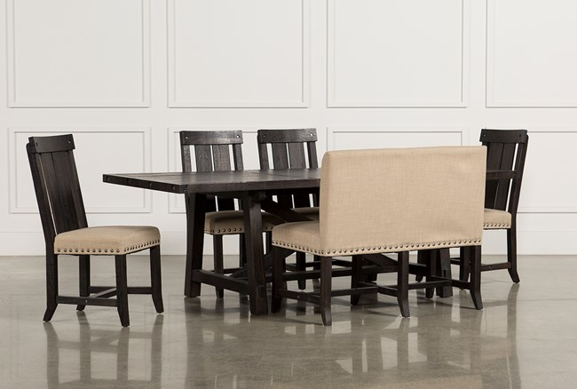 Jaxon 6 Piece Rectangle Dining Set With Bench & Wood Chairs - 360