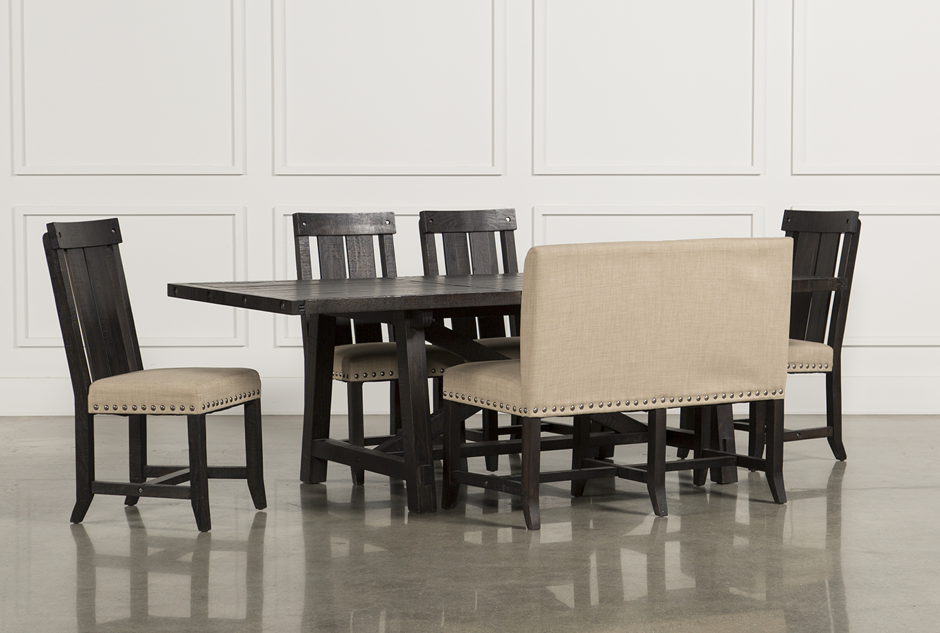 Jaxon 6 Piece Rectangle Dining Set W/Bench U0026 Wood Chairs