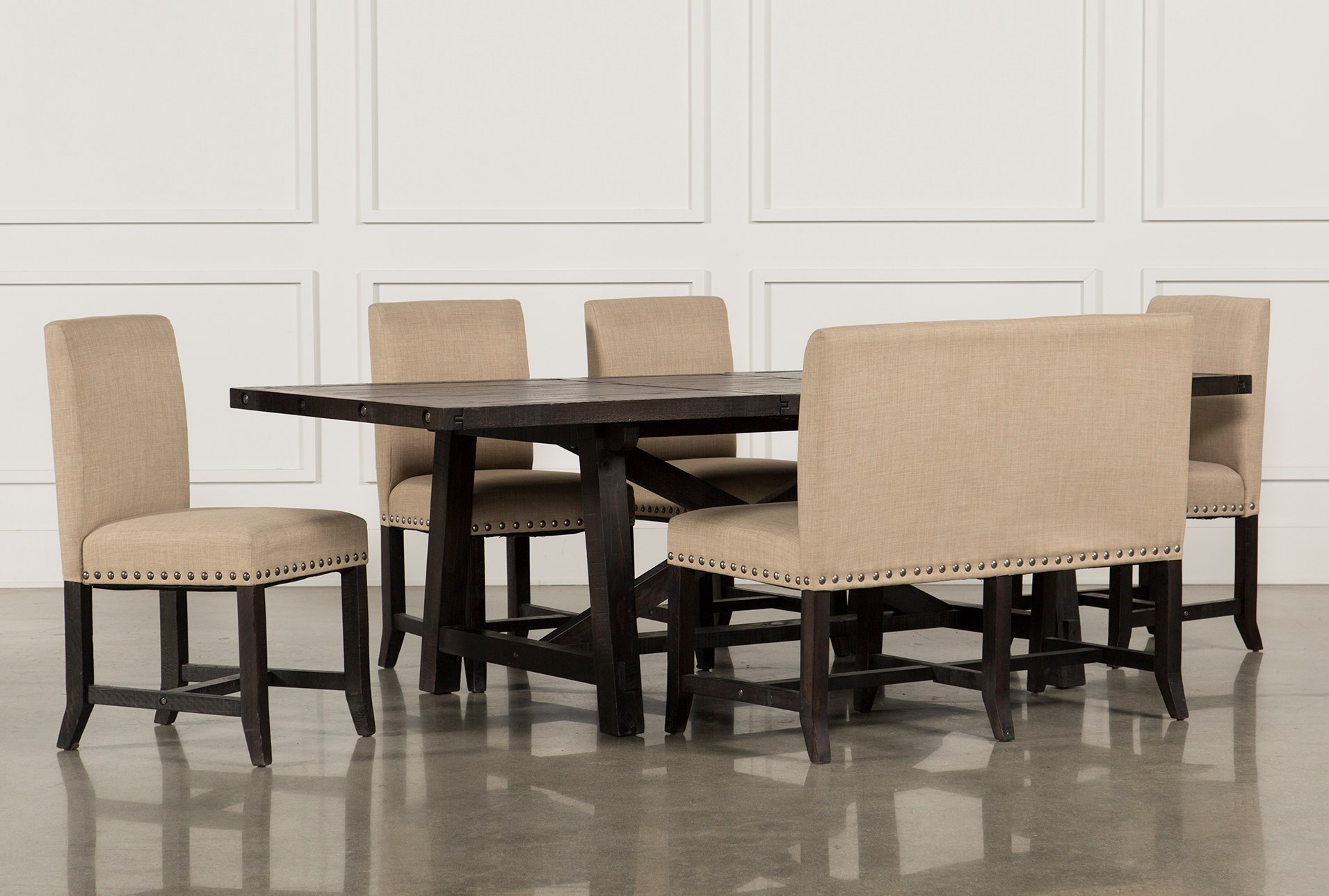 Jaxon 6 Piece Rectangle Dining Set W/Bench & Wood Chairs | Living Spaces