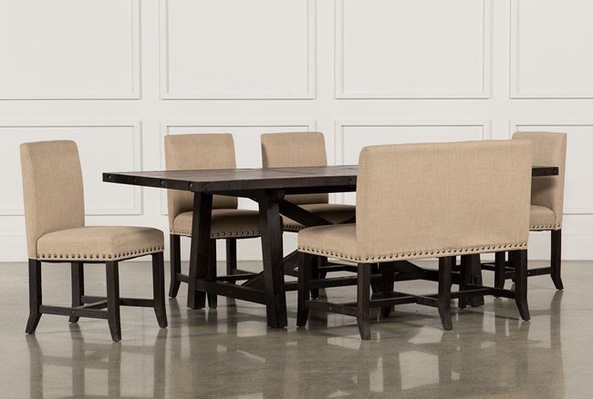 Jaxon 6 Piece Rectangle Dining Set With Bench & Upholstered Chairs - 360