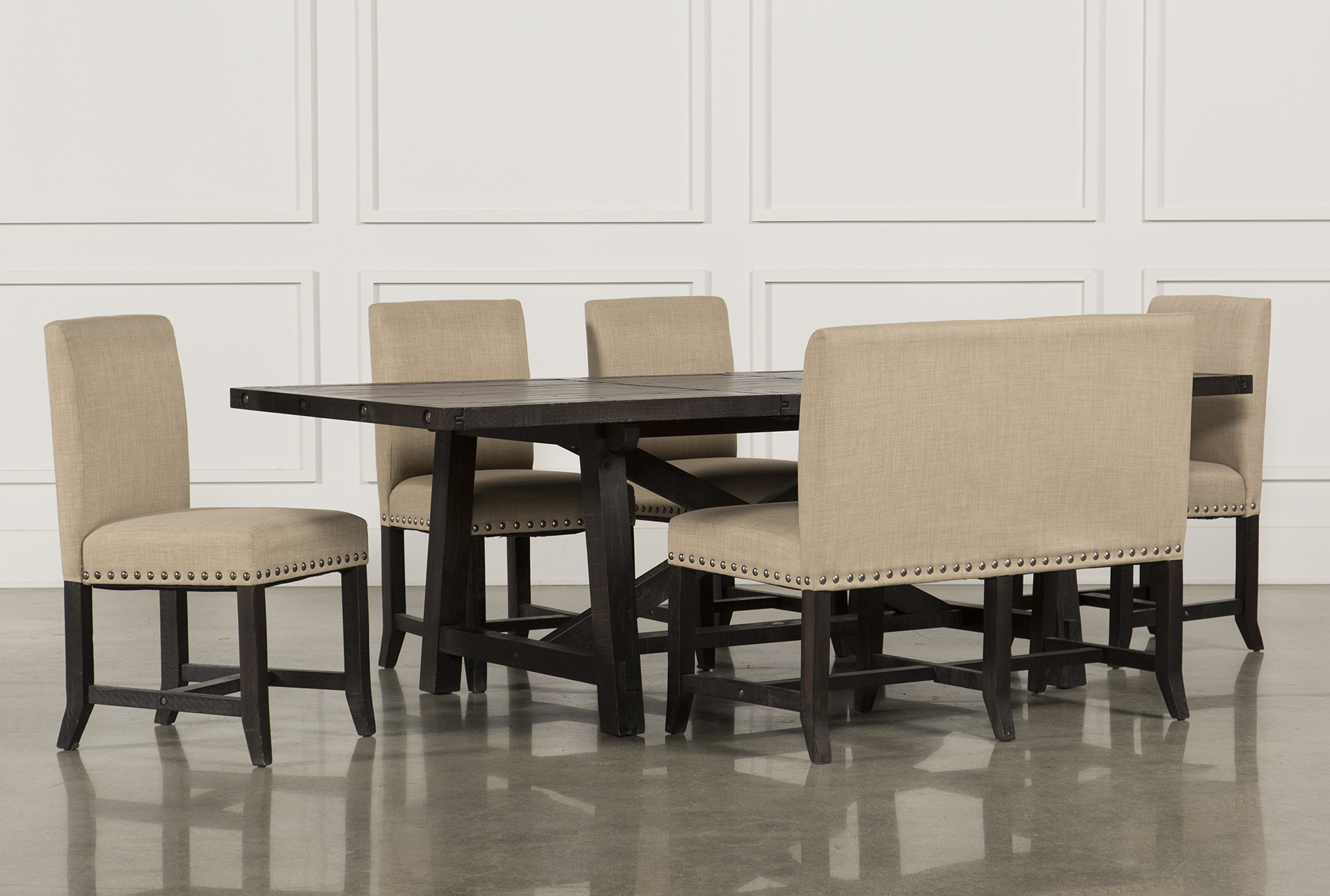 Jaxon 6 Piece Rectangle Dining Set W/Bench U0026 Uph Chairs