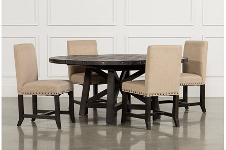 Jaxon 5 Piece Round Dining Set W/Upholstered Chairs - Main