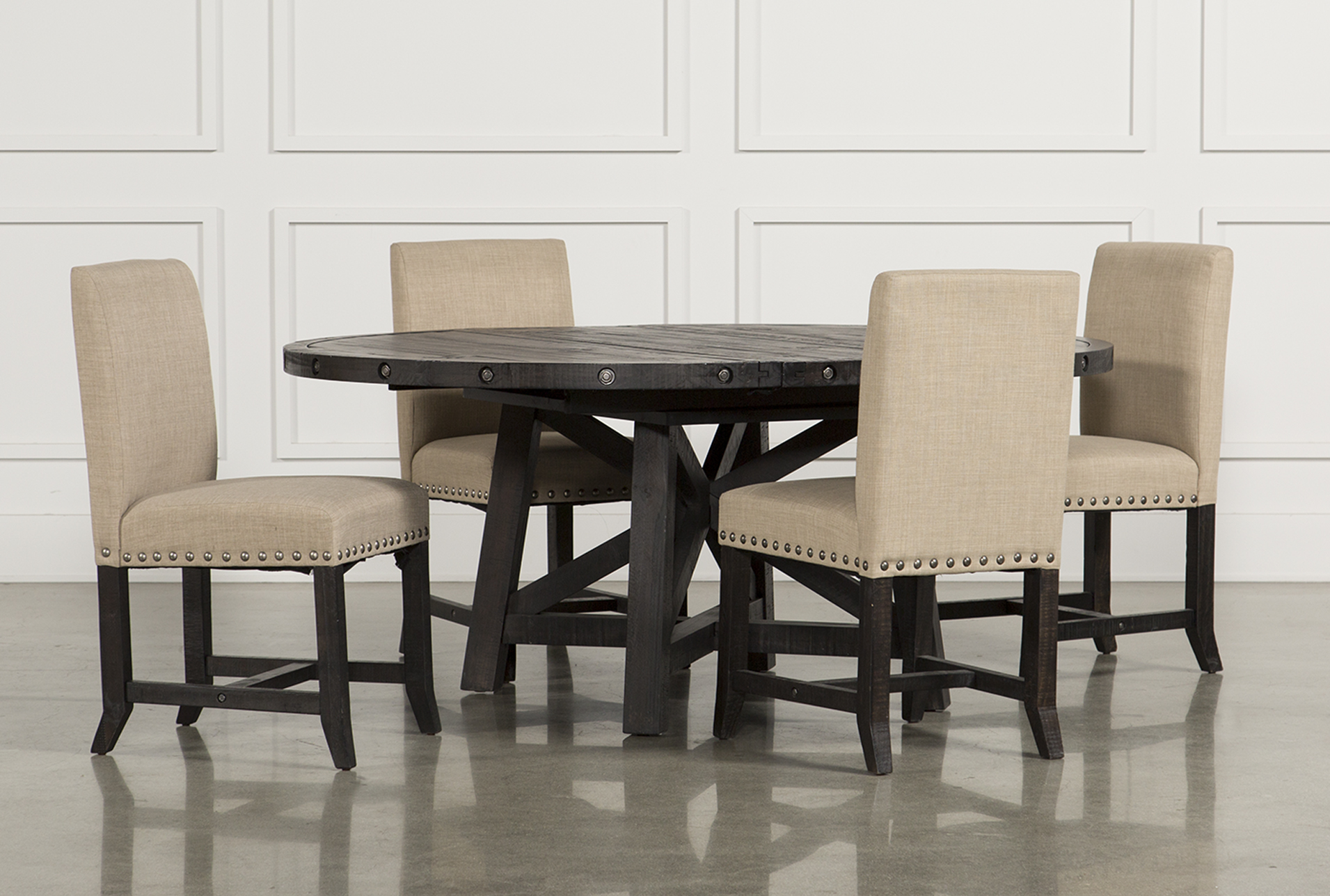 Jaxon 5 Piece Round Dining Set W/Upholstered Chairs   360