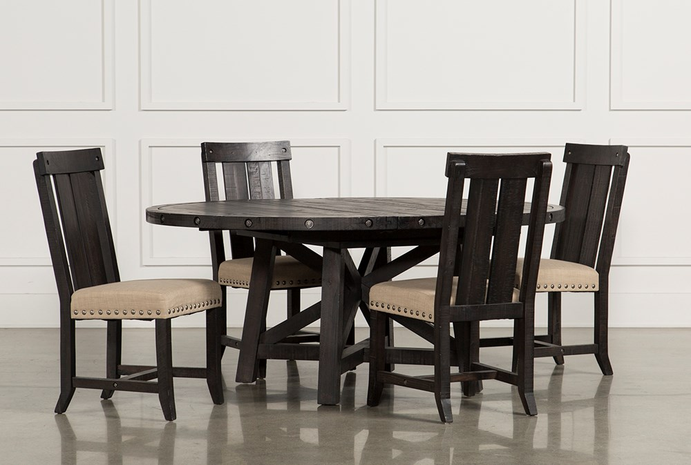 Jaxon 5 Piece Extension Round Dining Set With Wood Chairs Living Spaces