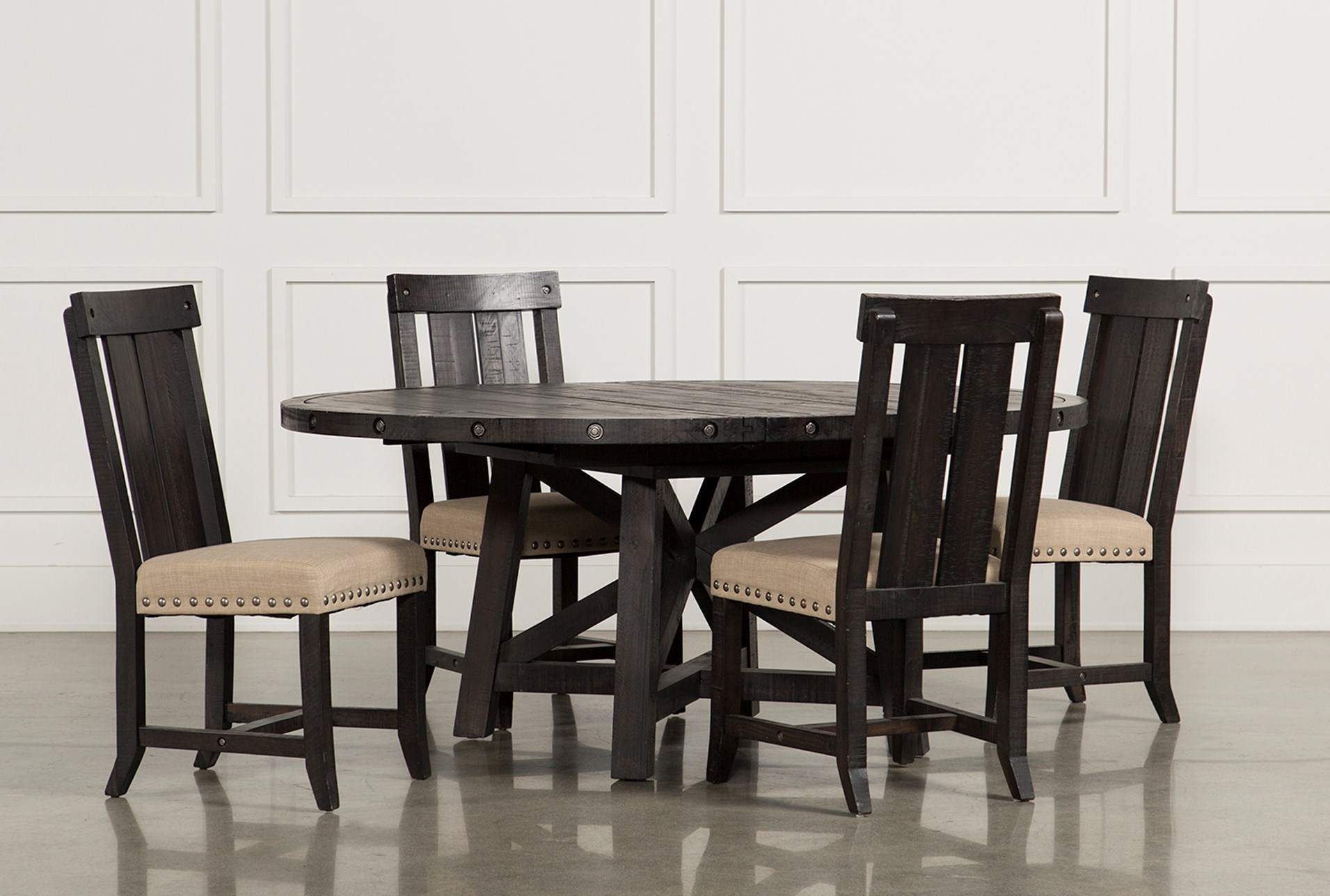 Jaxon 5 Piece Extension Round Dining Set W/Wood Chairs | Living Spaces