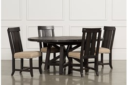 Jaxon 5 Piece Extension Round Dining Set With Wood Chairs
