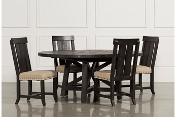 Jaxon 5 Piece Extension Round Dining Set W/Wood Chairs