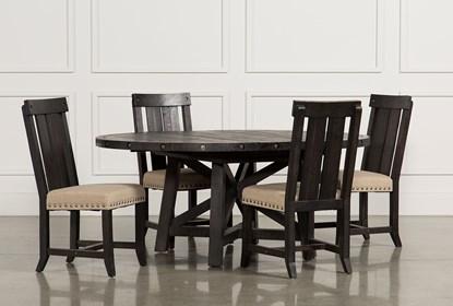 Jaxon 5 Piece Extension Round Dining Set W/Wood Chairs
