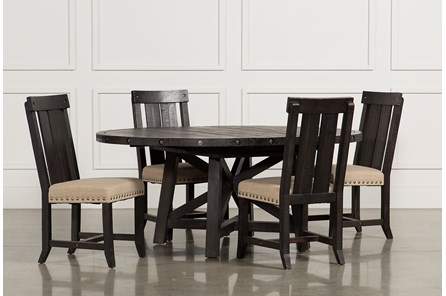 Jaxon 5 Piece Extension Round Dining Set W/Wood Chairs - Main