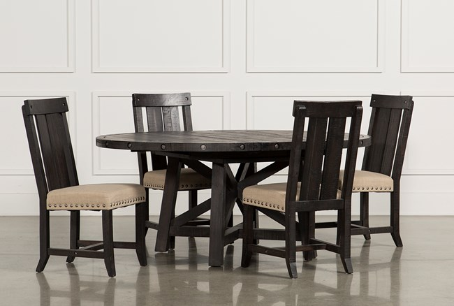 Dining Room Chairs Wood jaxon 5 piece extension round dining set w/wood chairs
