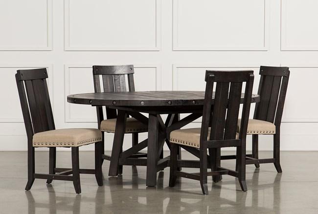 Jaxon 5 Piece Extension Round Dining Set W/Wood Chairs - 360