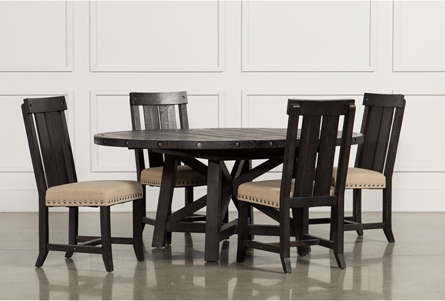 Jaxon 5 Piece Extension Round Dining Set W/Wood Chairs - 360