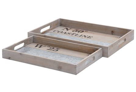 2 Piece Set White Wash Wood & Metal Tray