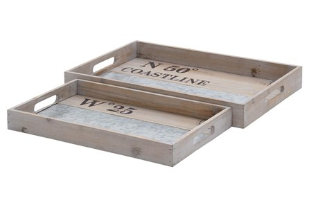 2 Piece Set White Wash Wood & Metal Tray - Main