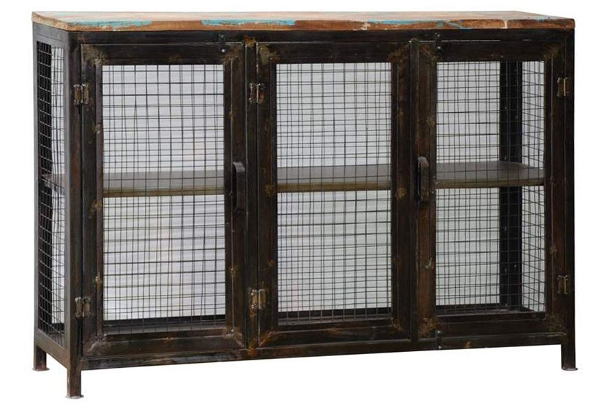 Reclaimed Industrial Finish Display Cabinet