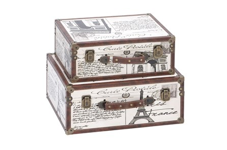 2 Piece Set Wood & Leather Boxes - Main