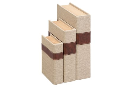 3 Piece Set Burlap Books - Main